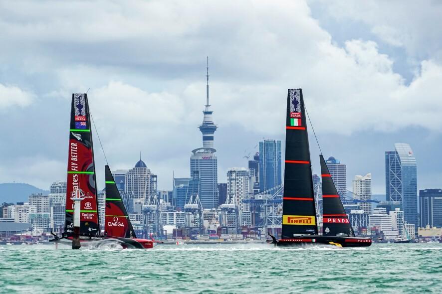 16/03/21 - Auckland (NZL) 36th America's Cup presented by Prada America's Cup Match - Race Day 7 Emirates Team New Zealand, Luna Rossa Prada Pirelli Team, Sky Tower