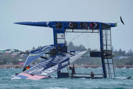 USA SailGP Team helmed by Jimmy Spithill capsized during the first race on race day 2 Bermuda SailGP presented by Hamilton Princess, Event 1 Season 2 in Hamilton, Bermuda. 25 April 2021. Photo: Bob Martin for SailGP. Handout image supplied by SailGP