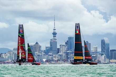 16/03/21 - Auckland (NZL) 36th America's Cup presented by Prada America's Cup Match - Race Day 7 Emirates Team New Zealand, Luna Rossa Prada Pirelli Team, Sky Tower